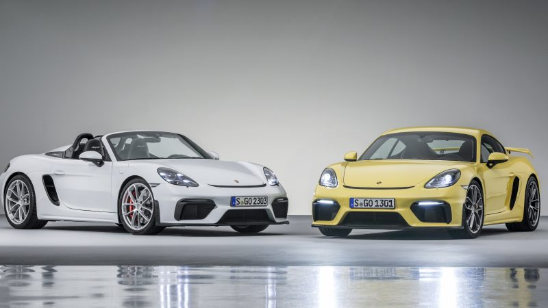 Porsche 718 Spyder en 718 Cayman GT4: nieuwe puristische topversies met natuurlijk aangezogen zescilinder boxermotoren