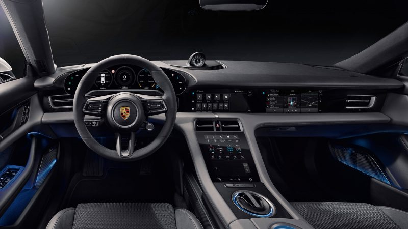 Dit is het interieur van de Porsche Taycan